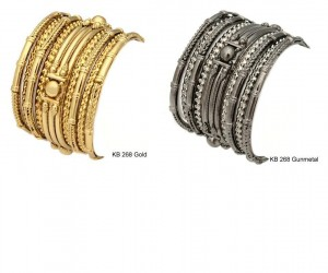 A 9 piece metal Bangle set available in two colors gold or gunmetal. $70 at Amrita Singh Jewelry