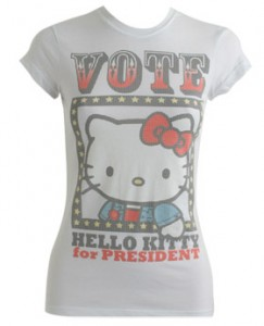 I am a HUGE hello kitty fan so I already own this T. For $7.99 have some fun during this stressful election! available at Wet Seal.com